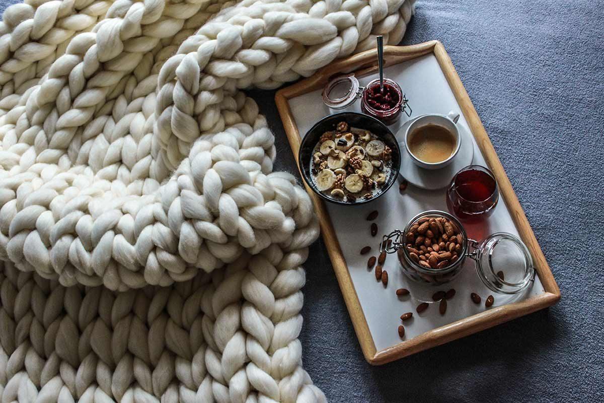 Velká ručně pletená deka