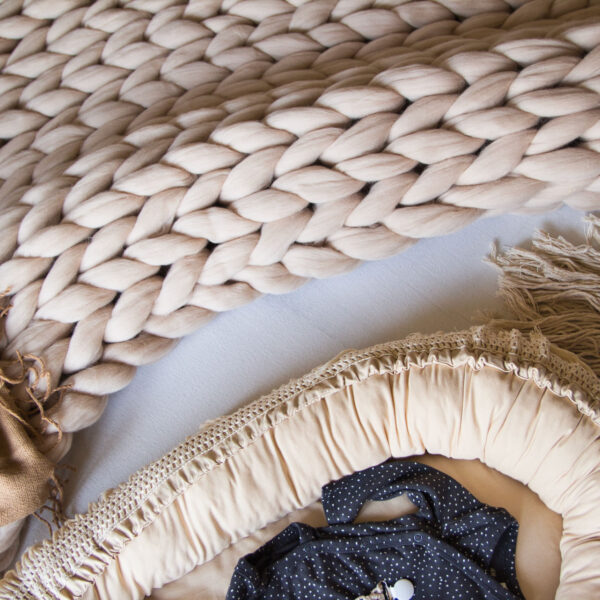 Gigantická pletená merino deka